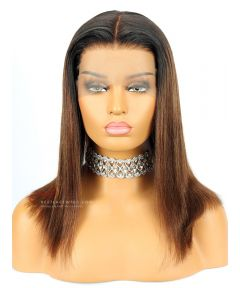 Ombre Yaki Straight Bob Lace Front Wig 150% Density Indian Remy Hair [BOB013]