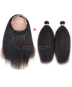 Indian Remy Hair Kinky Straight 360 Lace Frontal W/ 2 PCS Hair Weaves [FW15]