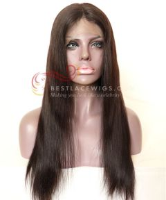 1b# 18in Silky Straight Indian remy Hair Full Lace Wig [CWS118]