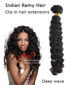 Indian Remy Hair Clip In Hair Extensions Deep Wave [CLIP14]