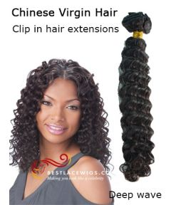 Virgin Chinese Hair Clip In Hair Extensions Deep Wave [CLIP54]