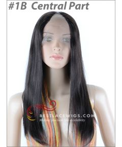 Straight Lace Front U-Part Wigs Indian Remy Hair #1B [UW06]