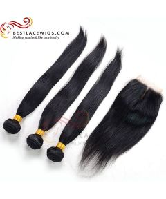 Virgin Indian Hair Weaves 3Pcs With 1Pc Lace Closure Straight Hair [MW63]