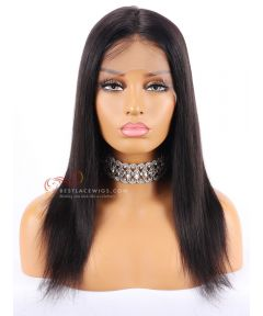1B# 14inch 130% Density Silky Straight Indian Remy Hair Lace Front Wigs [CWS81]