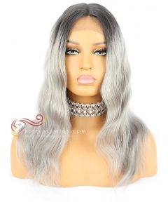 Grey Wavy BOB With Dark Roots Brazilian Virgin Hair Lace Front Wigs  [CWS101]
