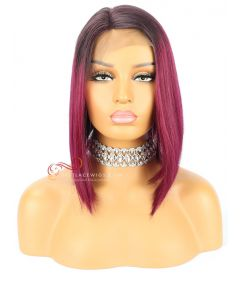Purple Color Silky Straight Chinese Virgin Hair Lace Front Wigs  [CWS100]