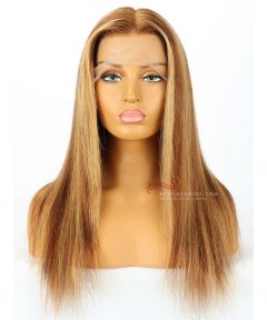 6in Part Honey Brown Highlights Silky Straight Lace Front Wigs Transparent Lace [GSW310]