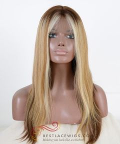 Ciara Inspired Blonde Silky Straight Brazilian Virgin Hair Full Lace Wig  [CWS136]