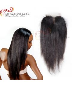Virgin Brazilian Hair Middle Part Lace Closure Yaki Straight Natural Color Hair [CN03]