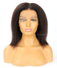 """10"""" 180% Kinky Straight Indian Remy Hair Pre-Plucked 360 Lace Wigs [CWS015]"""