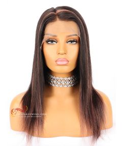 14in 150% density Silky Straight Brazilian Virgin Hair Glueless Full  Lace Wig  [CWS138]