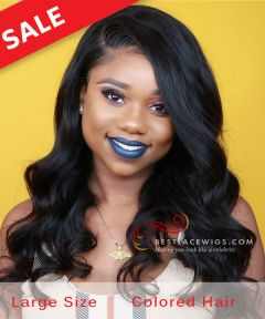 Large Size: Body Wave Indian Remy Hair 360 Lace Wigs [GLW018L]