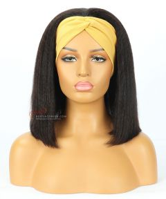 Kinky Straight Bob Style Indian Remy Hair Headband Wigs [HB010]