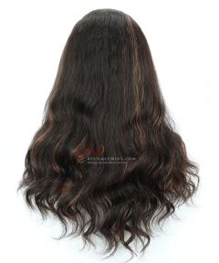 18in Highlight Color Body Wave 150% Density Indian Remy Hair Full Lace Wig[CWS205]