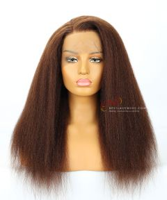 "18"" Dark Brown 180% Density Kinky Straight Indian Remy Hair 360 Lace Wig[CWS181]"