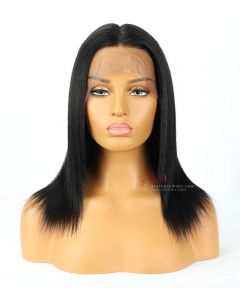 "12"" Jet Black 180% Density Yaki Straight Indian Remy Hair 360 Lace Wig[CWS182]"