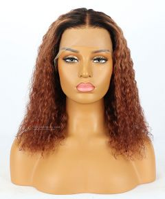 Ombre Curly Hair With Dark Roots Lace Front Wig Transparent Lace [GSW308]