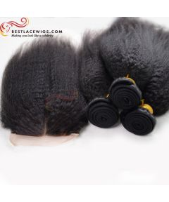 3Pcs Virgin Indian Hair Weaves With 1PC Lace Closure Kinky Straight [MW75]