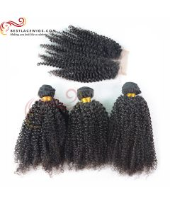 Middle Part Lace Closure With Virgin Brazilian Kinky Curl 3Pcs Hair Weaves [MW03]