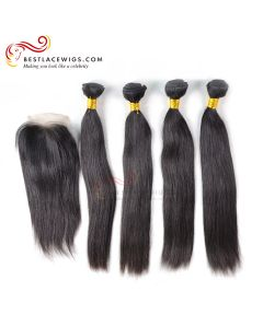 Middle Part Lace Closure With Virgin Brazilian Straight 4Pcs Hair Weaves [MW13]