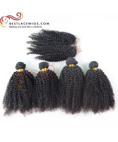 Middle Part Lace Closure With 4Pcs Kinky Curl Hair Weaves Virgin Brazilian Hair [MW37]