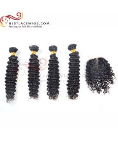 Middle Part Lace Closure With Virgin Brazilian Water Wave 4Pcs Hair Weaves [MW41]