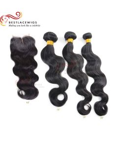 3Pcs Virgin Indian Hair Weaves With 1PC Lace Closure Body Wave [MW65]