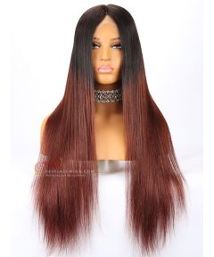 24in 180% Density Ombre Color Silky Straight Brazilian Virgin Human Hair Full Lace Wig With Silk top [CWS133]