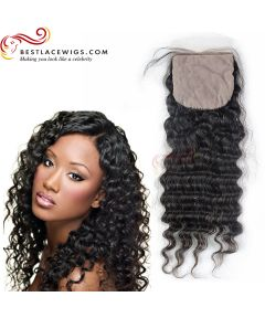 Silk Base Closure Indian Remy Hair Deep Wave [STC04]