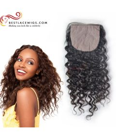 Silk Base Closure Water Wave Indian Remy Hair [STC05]