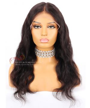 1b# 18in 130% Density Body Wave Indian Remy Hair Lace Front Wig  [CWS54]