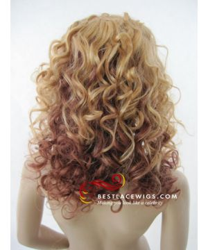 16 Inches Celebrity Glueless Full Lace Wigs Beyonce Curly Virgin Brazilian Hair [GSW360]