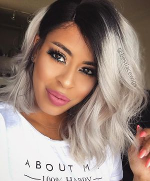 150% Density Silky Staight Brazilian Virgin Hair Grey Bob Lace Front Wigs [BOB004]