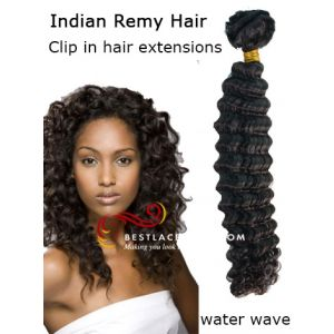 Indian Remy Hair Clip In Hair Extensions Water Wave [CLIP15]