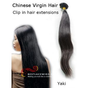 Clip In Hair Extensions Virgin Chinese Hair Yaki [CLIP52]