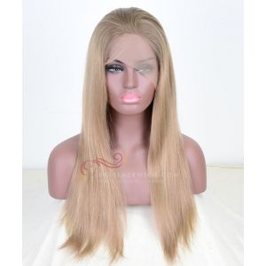 Blonde Hair Tip Color 8# 11# 24# Highlight Silky Straight Chinese Virgin Hair Glueless Full Lace Wigs[SW047]