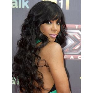 Kelly Rowland Wavy Indian Remy Hair With Bangs Glueless Lace Front Wigs [SW150]