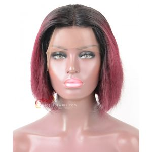 Pre-Plucked 13X6 Lace Frontal Wig 1#/99j Straight BOB Style [BOB018]