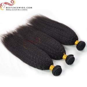 3 Bundles Kinky Straight Virgin Indian Hair Weaves