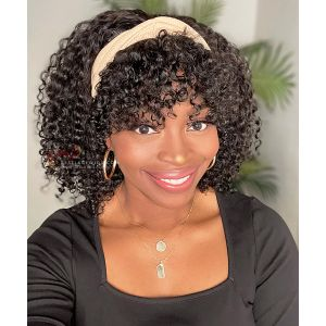 Curly Bob Style With Bangs Indian Remy Hair Headband Wigs [HB019]