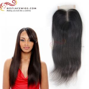 Straight Natural Color Middle Part Lace Closure Virgin Brazilian Hair [CN01]