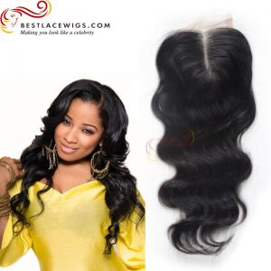 Virgin Brazilian Hair Middle Part Lace Closure Body Wave Natural Color Hair [CN02]