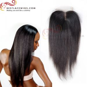 Virgin Brazilian Hair Middle Part Lace Closure Yaki Straight Natural Color Hair [CN03]
