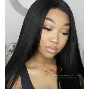 Heavy Density Yaki Straight Brazilian Virgin Hair 360 Lace Wigs [GLW014]