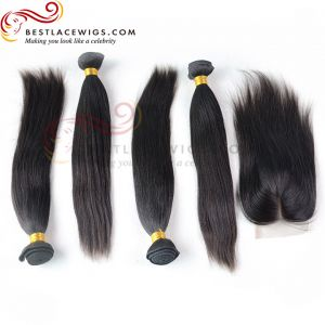 Free Part Lace Closure With Virgin Brazilian Yaki Straight 4Pcs Hair Weaves [MW14]