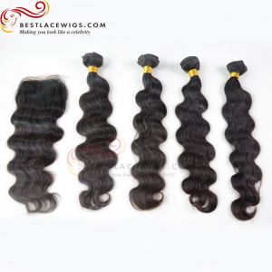 Middle Part Lace Closure With Virgin Brazilian Body Wave 4Pcs Hair Weaves [MW15]