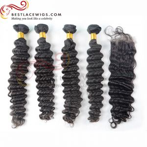 Free Part Lace Closure With Virgin Brazilian Deep Wave 4Pcs Hair Weaves [MW16]