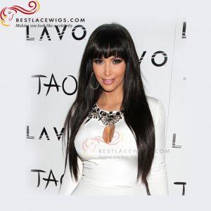 kim kardashian black hair with bang