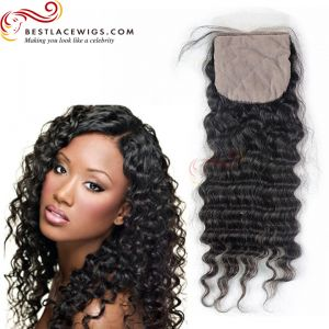 Silk Base Closure Indian Remy Hair Deep Wave [STC04]