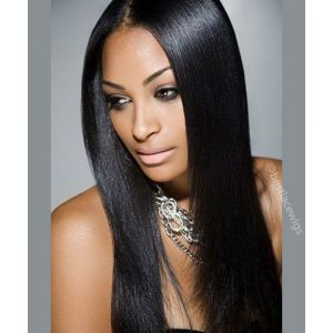 Light Yaki for Black Women Indian Remy Hair Glueless Lace Front Wigs [SW094]